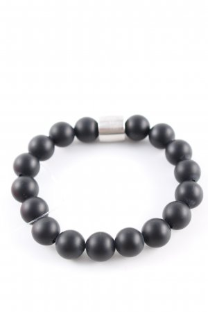 Pierre Lang Bracelet en perles noir-argenté style décontracté