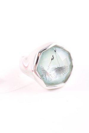 Pierre Lang Bague incrustée de pierres argenté-turquoise style décontracté