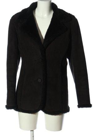 Pietra Luna Cappotto in eco pelliccia nero stile casual