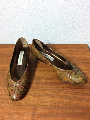 Pietro Pellegrini Vintage flache Schuhe Gr. 37 Leder geprägt Italy