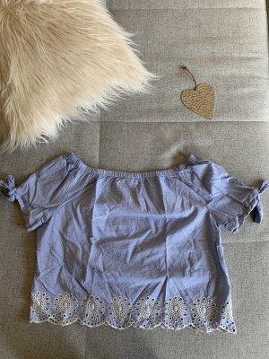 Pigalle Crop Shirt blau weiß 40 M Lochstickerei Carmen