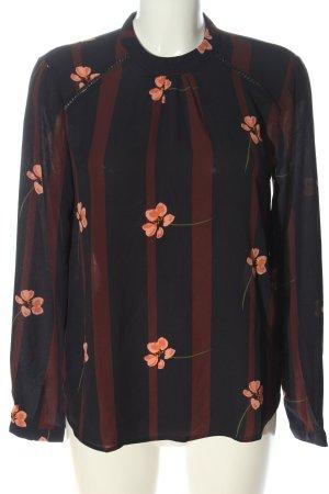 Pigalle Langarm-Bluse schwarz-braun Blumenmuster Casual-Look