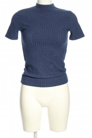 Pigalle Ribbed Shirt blue cable stitch casual look