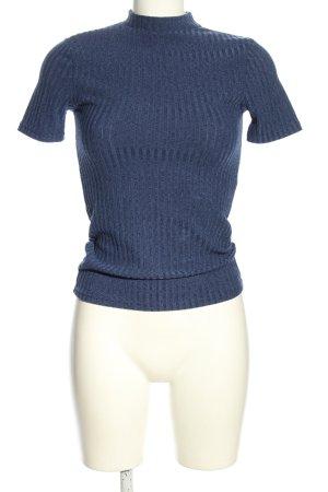 Pigalle Geribd shirt blauw kabel steek casual uitstraling