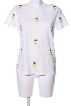 Pigalle T-Shirt weiß-blassgelb Motivdruck Casual-Look