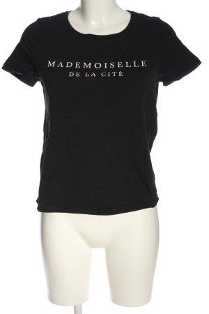 Pigalle T-Shirt schwarz-weiß Schriftzug gedruckt Casual-Look