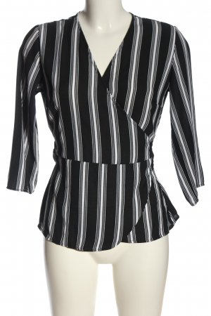 Pigalle Wraparound Blouse black-white allover print business style