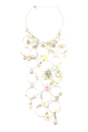 Pilgrim Halskette silberfarben-grün Blumenmuster Elegant