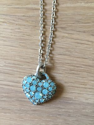 Pilgrim Halskette Kette Herz Türkis - mit funkelnden Steinen