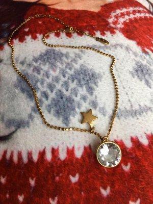 PILGRIM Halskette Kristalle Anhänger goldene Kette