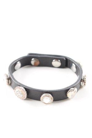 Pilgrim Bracelet en cuir noir style décontracté