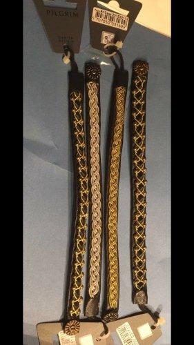 Pilgrim Brazalete de cuero negro-color oro Cuero