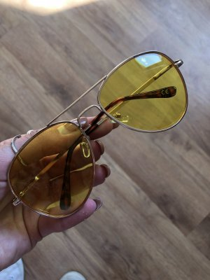Asos Aviator Glasses yellow