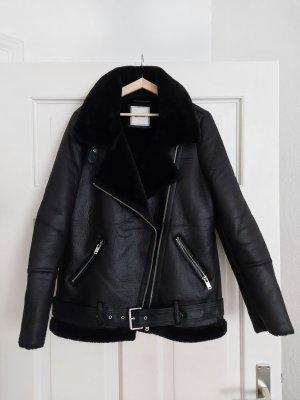 Pimkie Biker Jacket black-silver-colored polyester