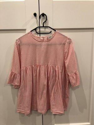 Pimkie Ruche blouse wit-lichtrood