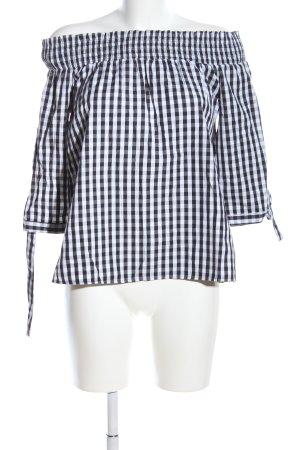 Pimkie Blusa tipo Carmen negro-blanco estampado a cuadros look casual