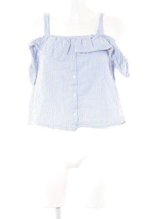 Pimkie Carmen-Bluse weiß-himmelblau Streifenmuster