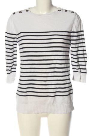 Pimkie Feinstrickpullover weiß-schwarz Streifenmuster Casual-Look