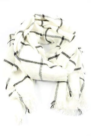 Pimkie Bufanda de flecos blanco puro-negro estampado a cuadros look casual