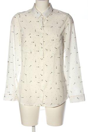 Pimkie Hemd-Bluse weiß-schwarz Allover-Druck Business-Look