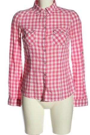 Pimkie Holzfällerhemd pink-weiß Allover-Druck Business-Look