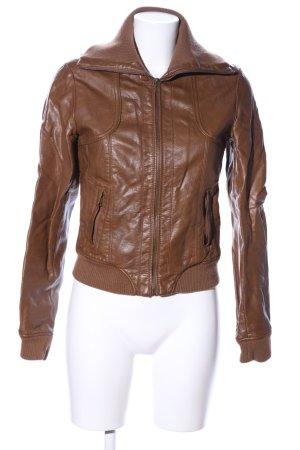 Pimkie Veste en cuir synthétique brun style décontracté