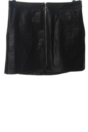 Pimkie Falda de cuero de imitación negro look casual
