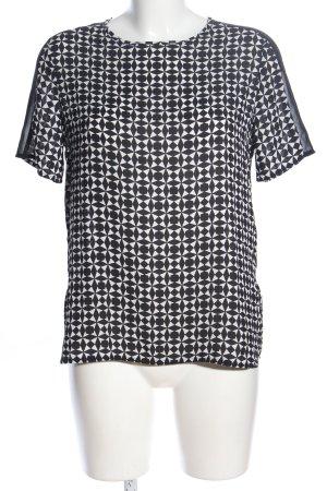 Pimkie Kurzarm-Bluse schwarz-weiß Allover-Druck Casual-Look