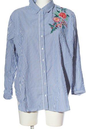 Pimkie Langarmhemd blau-weiß Blumenmuster Casual-Look