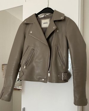 Pimkie Leather Jacket grey brown-silver-colored