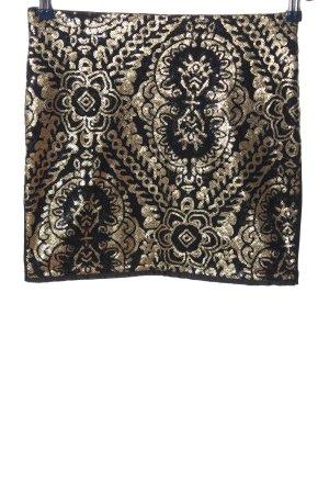 Pimkie Minirock schwarz-goldfarben grafisches Muster Casual-Look