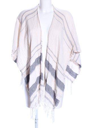 Pimkie Poncho crème-gris clair motif rayé style décontracté