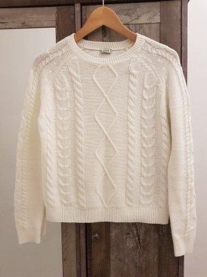Pimkie Warkoczowy sweter w kolorze białej wełny-biały