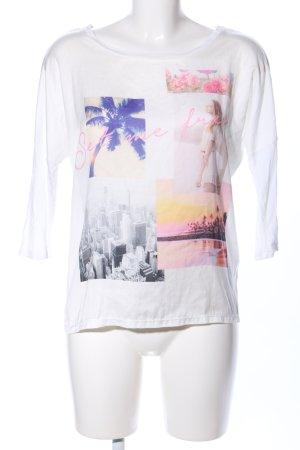 Pimkie Sweatshirt blanc imprimé avec thème style décontracté
