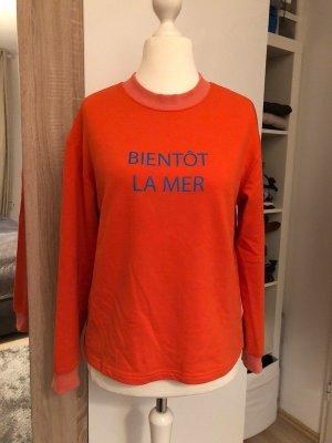 """Pimkie Sweatshirt orange & blau, Schriftzug """"Bientôt la mer"""", Gr. M"""
