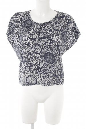 Pimkie T-Shirt slate-gray-pale blue floral pattern simple style