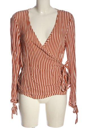 Pimkie Kopertowa bluzka jasny pomarańczowy-biały Na całej powierzchni