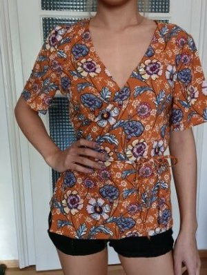 Pimkie Wraparound Blouse dark orange-blackberry-red polyester