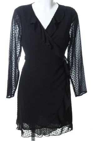 Pimkie Vestido cruzado negro estampado a lunares elegante