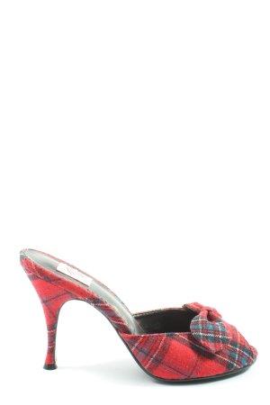 Pin Up Couture Mule à talon rouge-bleu motif à carreaux élégant