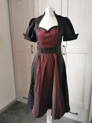 Robe avec jupon noir-bordeau