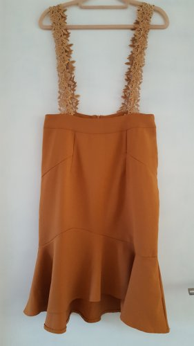 Chicwish Pinafore dress brown-cognac-coloured polyester