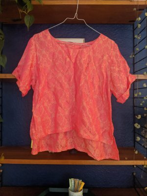 Pink and orange crop silk mix top