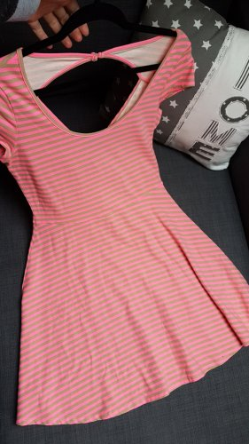 Pink beige gestreiftes Minikleid