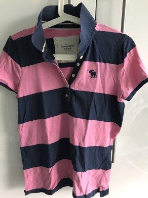 Abercrombie & Fitch Camiseta tipo polo rosa-azul oscuro