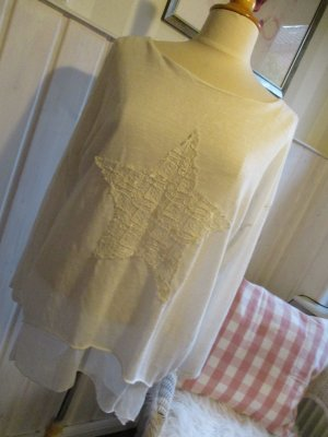 Pink Cherry Italy Pullover Lagenlook Casual Cremeweiß