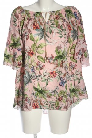 Pink Cherry Kurzarm-Bluse abstraktes Muster Casual-Look