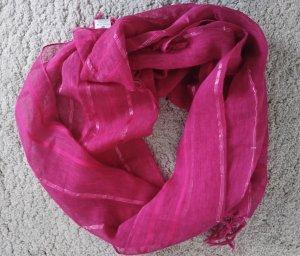 C&A Bufanda de flecos color plata-rojo frambuesa Algodón