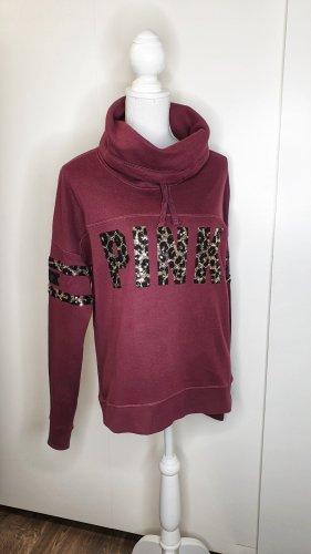 PINK Hoodie S Leopard Pailletten Turtleneck Bordeaux Oversize Victorias Secret