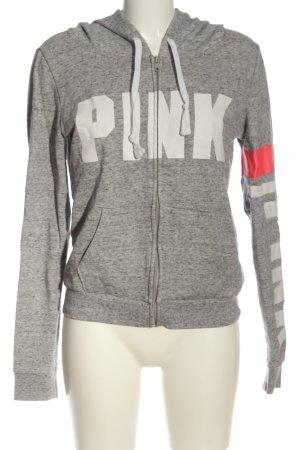Pink Felpa con cappuccio grigio chiaro-bianco puntinato stile casual